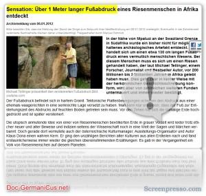 Sensation: Über 1 Meter langer Fußabdruck eines Riesenmenschen in Afrika entdeckt