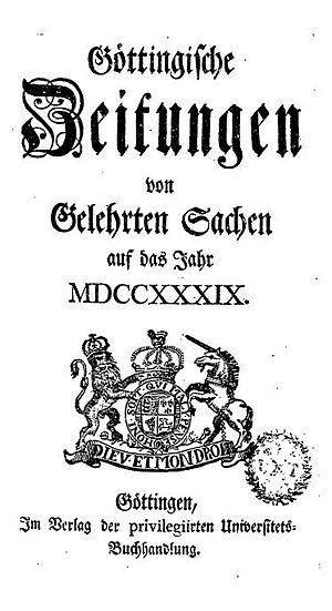 Göttingische Zeitungen 1739