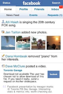 Illustration of Facebook mobile interface