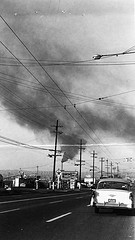 Smoke pollution near Ballard Bridge, 1957