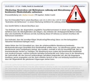 Filesharing: Bestreiten mit Nichtwissen zulässig und Abmahnung muss bestimmte Mindestinhalte aufweisen