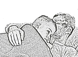 Deutsch: Zeichnung Schlafen von E. Ersch Fried...