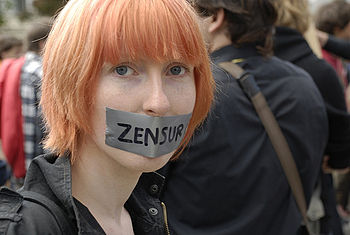 English: A protester against censorship (Berli...
